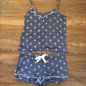 Blue floral pajama set